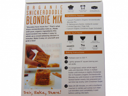 Organic Snickerdoodle Blondie Mix.