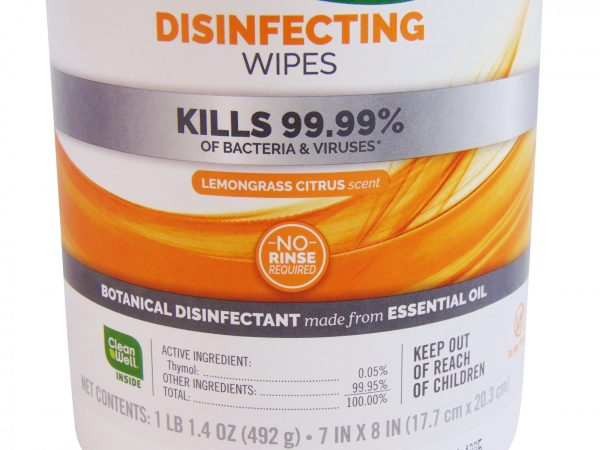 Seventh Generation Disinfecting Wipes ingredients front label.